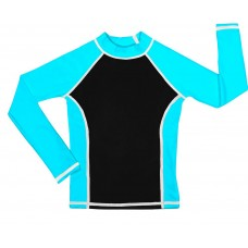 Black /Turquoise UV Long Sleeve Swim Shirt